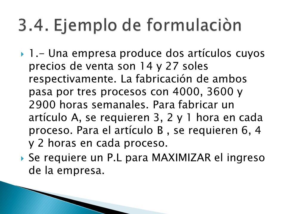 1.- Una empresa produce dos artículos cuyos precios de venta son 14 y 27 soles respectivamente. La fabricación de ambos pasa por tres procesos con 400