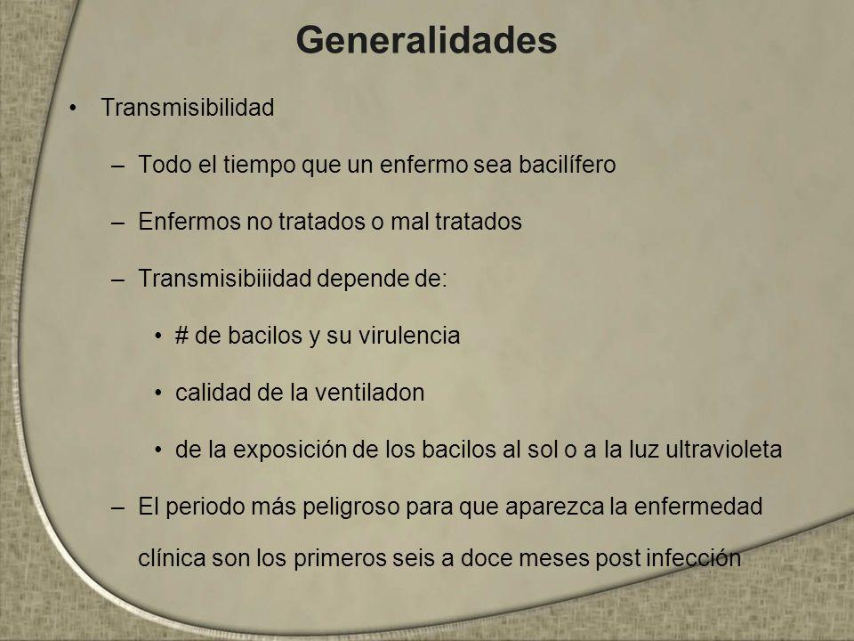 Generalidades Transmisibilidad –Todo el tiempo que un enfermo sea bacilífero –Enfermos no tratados o mal tratados –Transmisibiiidad depende de: # de b