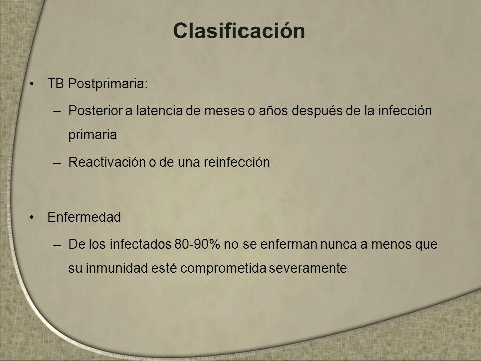Clasificación TB Postprimaria: –Posterior a latencia de meses o años después de la infección primaria –Reactivación o de una reinfección Enfermedad –D