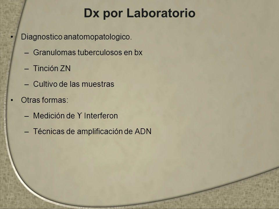 Dx por Laboratorio Diagnostico anatomopatologico. –Granulomas tuberculosos en bx –Tinción ZN –Cultivo de las muestras Otras formas: –Medición de ϒ Int