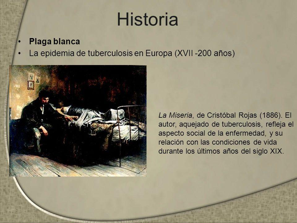 Historia Plaga blanca La epidemia de tuberculosis en Europa (XVII -200 años) La Miseria, de Cristóbal Rojas (1886). El autor, aquejado de tuberculosis
