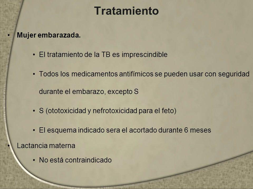 Tratamiento Mujer embarazada. El tratamiento de la TB es imprescindible Todos los medicamentos antifímicos se pueden usar con seguridad durante el emb