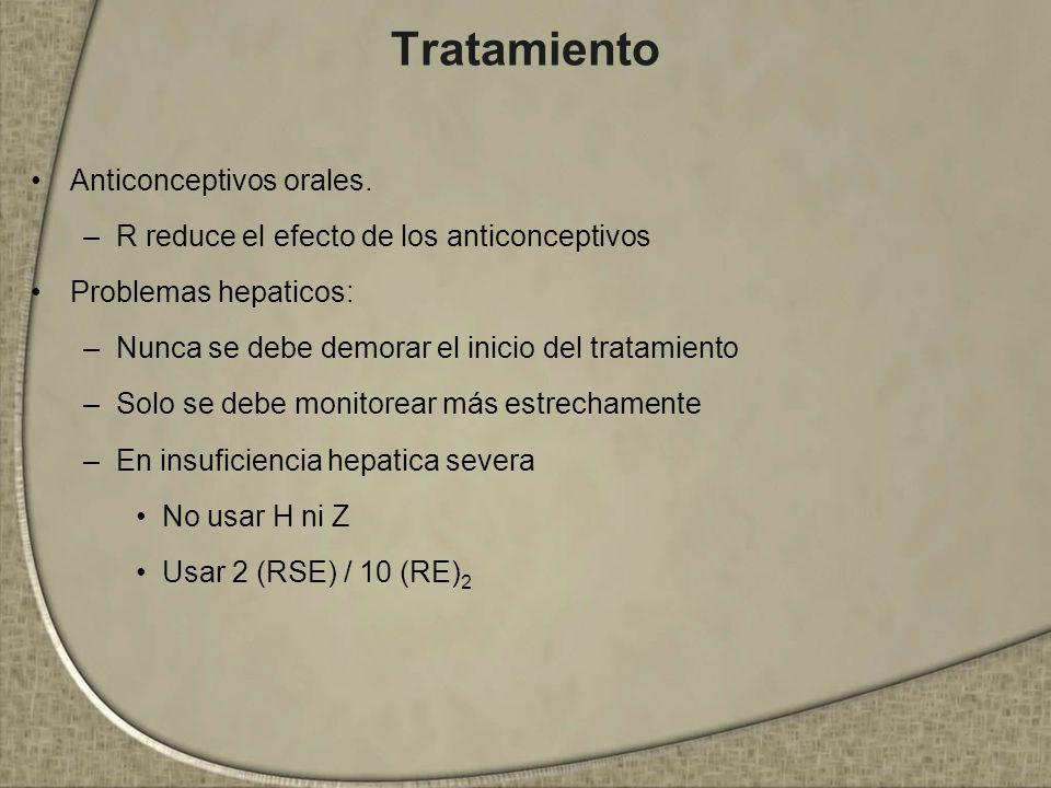 Tratamiento Anticonceptivos orales. –R reduce el efecto de los anticonceptivos Problemas hepaticos: –Nunca se debe demorar el inicio del tratamiento –