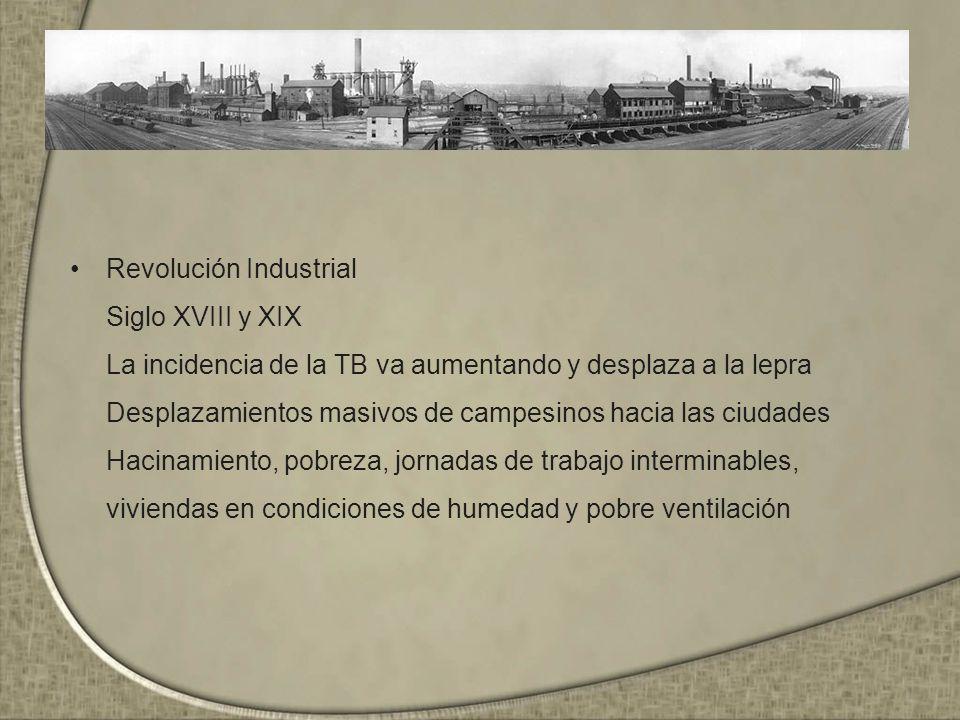 Revolución Industrial Siglo XVIII y XIX La incidencia de la TB va aumentando y desplaza a la lepra Desplazamientos masivos de campesinos hacia las ciu
