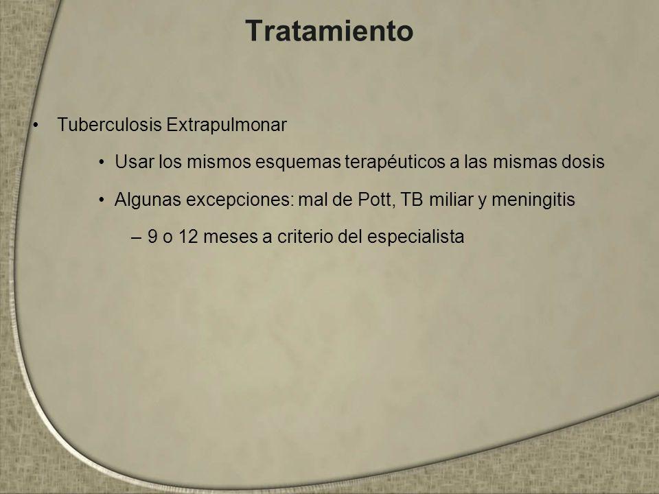 Tratamiento Tuberculosis Extrapulmonar Usar los mismos esquemas terapéuticos a las mismas dosis Algunas excepciones: mal de Pott, TB miliar y meningit