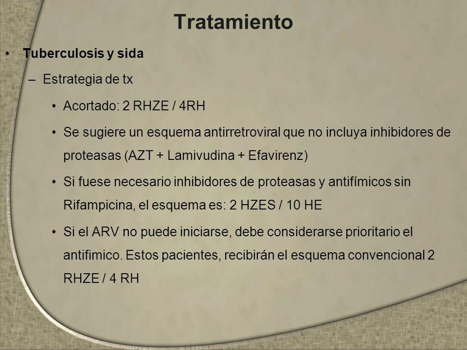 Tratamiento Tuberculosis y sida –Estrategia de tx Acortado: 2 RHZE / 4RH Se sugiere un esquema antirretroviral que no incluya inhibidores de proteasas