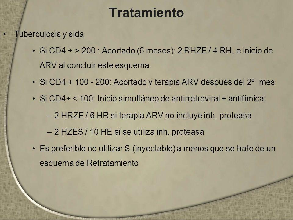 Tratamiento Tuberculosis y sida Si CD4 + > 200 : Acortado (6 meses): 2 RHZE / 4 RH, e inicio de ARV al concluir este esquema. Si CD4 + 100 - 200: Acor