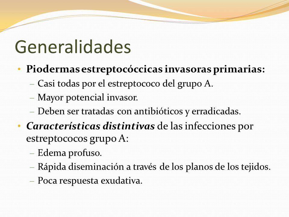 Generalidades Piodermas estreptocóccicas invasoras primarias: – Casi todas por el estreptococo del grupo A. – Mayor potencial invasor. – Deben ser tra