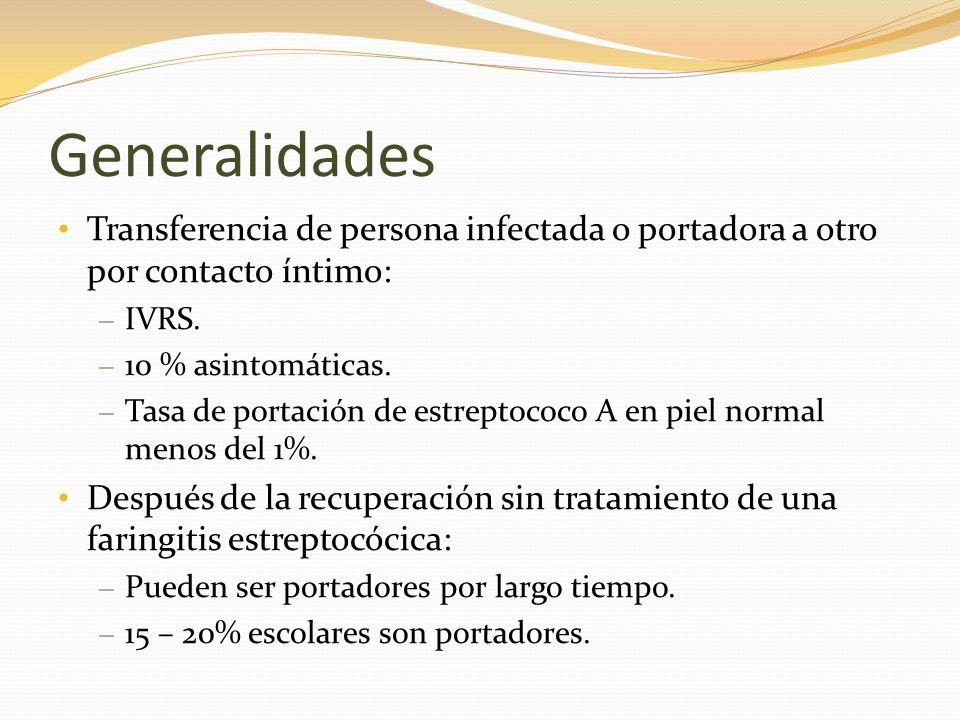 Generalidades Transferencia de persona infectada o portadora a otro por contacto íntimo: – IVRS. – 10 % asintomáticas. – Tasa de portación de estrepto
