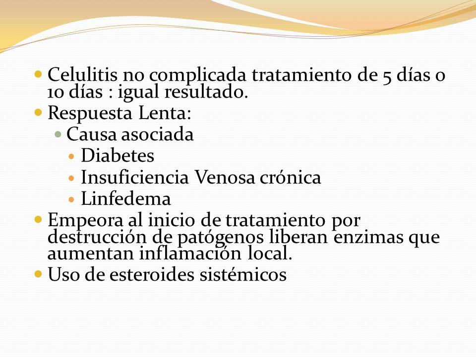 Celulitis no complicada tratamiento de 5 días o 10 días : igual resultado. Respuesta Lenta: Causa asociada Diabetes Insuficiencia Venosa crónica Linfe