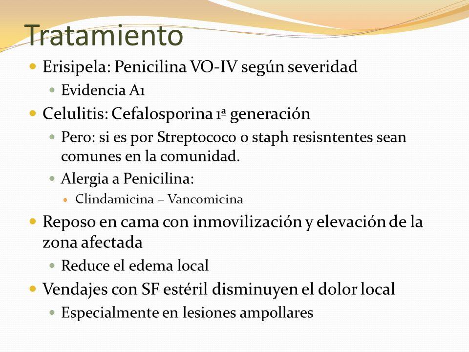 Tratamiento Erisipela: Penicilina VO-IV según severidad Evidencia A1 Celulitis: Cefalosporina 1ª generación Pero: si es por Streptococo o staph resisn