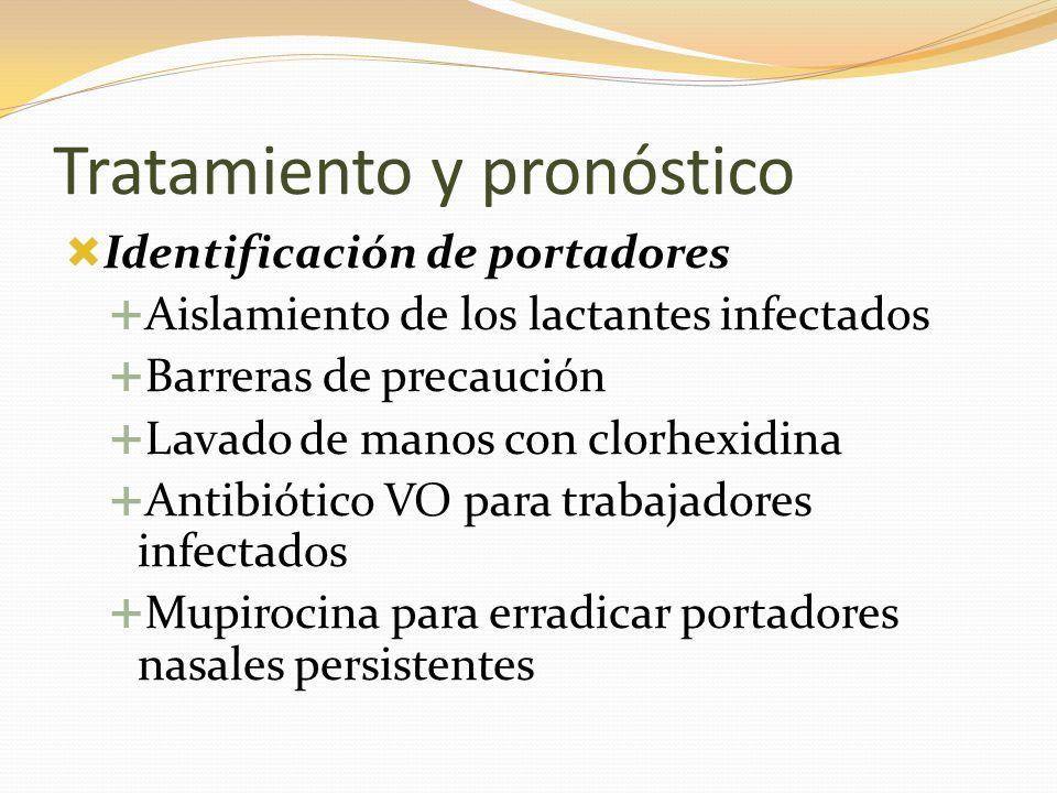 Tratamiento y pronóstico Identificación de portadores Aislamiento de los lactantes infectados Barreras de precaución Lavado de manos con clorhexidina