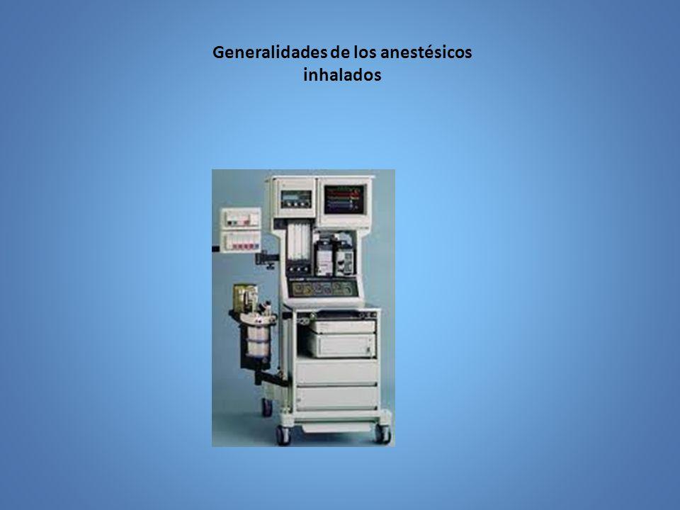 Anestésicos inhalados Profundidad anestésica por un agente inhalatorio es función de presión parcial que alcanza el anestésico en el cerebro, se aproxima a la presión parcial del aire alveolar.