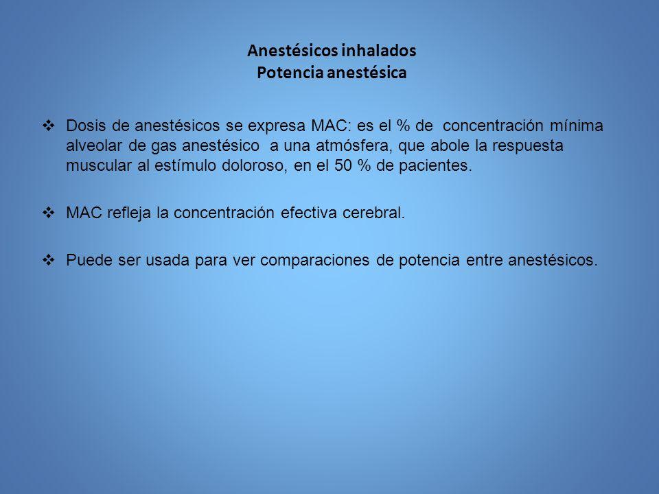 Anestésicos inhalados Potencia anestésica Dosis de anestésicos se expresa MAC: es el % de concentración mínima alveolar de gas anestésico a una atmósf