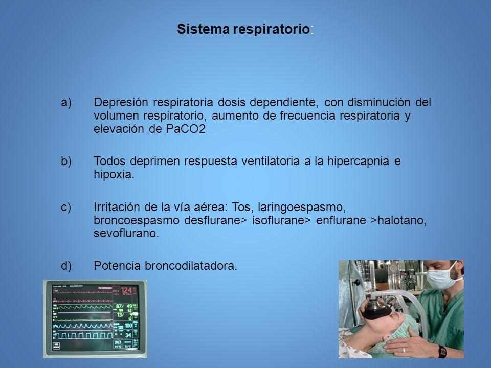 Sistema respiratorio: a)Depresión respiratoria dosis dependiente, con disminución del volumen respiratorio, aumento de frecuencia respiratoria y eleva