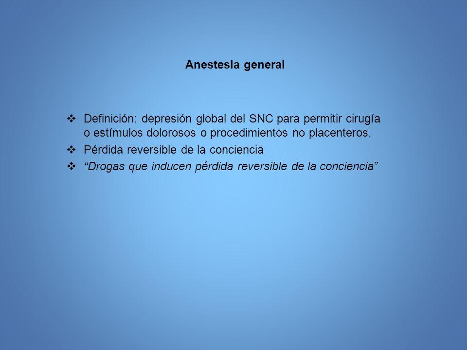 Anestesia general Definición: depresión global del SNC para permitir cirugía o estímulos dolorosos o procedimientos no placenteros. Pérdida reversible