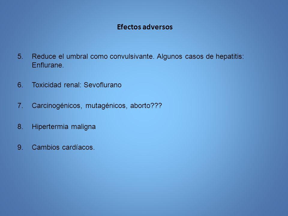 Efectos adversos 5.Reduce el umbral como convulsivante. Algunos casos de hepatitis: Enflurane. 6.Toxicidad renal: Sevoflurano 7.Carcinogénicos, mutagé