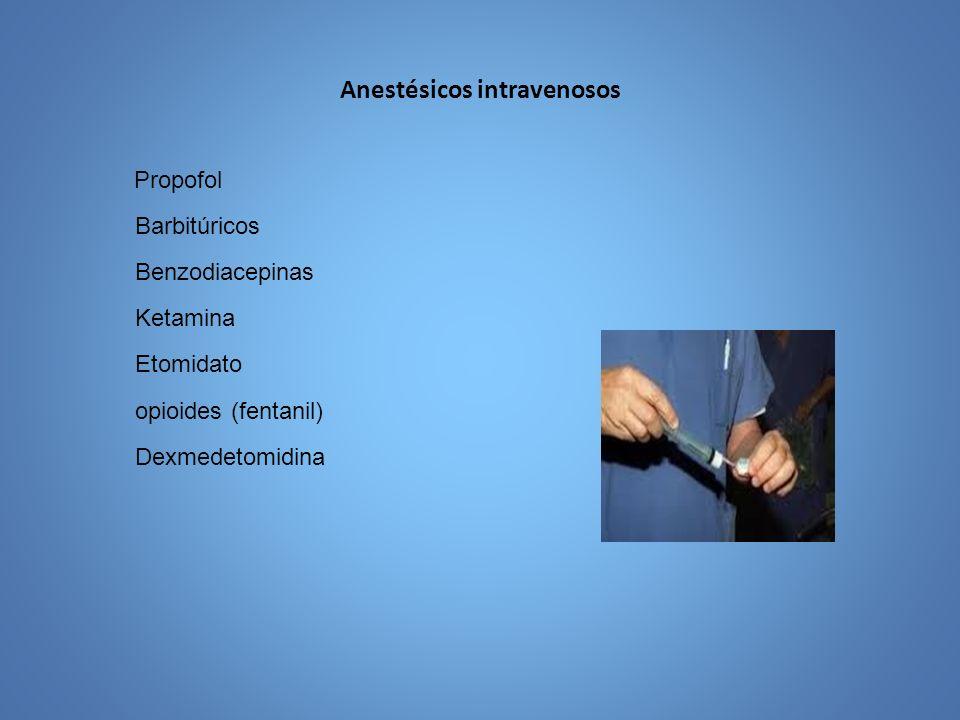 Anestésicos Intravenosos Nombre del fármaco Tiopental Benzodiazepina s DiazepamMidazolamKetaminaPropofol Tipo Anestésico ultracorto HipnóticoSedante Disociativo, amnesia, Analgésico Anestesico, ansiolítico Anestésico, no analgésico.