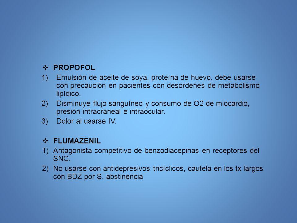 PROPOFOL 1)Emulsión de aceite de soya, proteína de huevo, debe usarse con precaución en pacientes con desordenes de metabolismo lipídico. 2)Disminuye