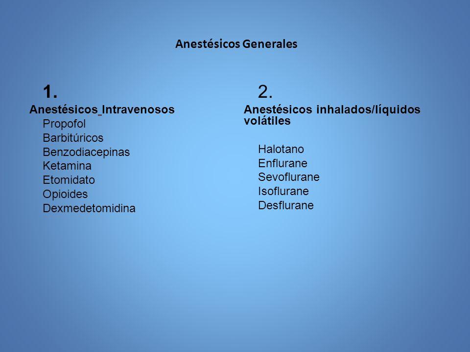 Anestésicos Generales 1. Anestésicos Intravenosos Propofol Barbitúricos Benzodiacepinas Ketamina Etomidato Opioides Dexmedetomidina 2. Anestésicos inh