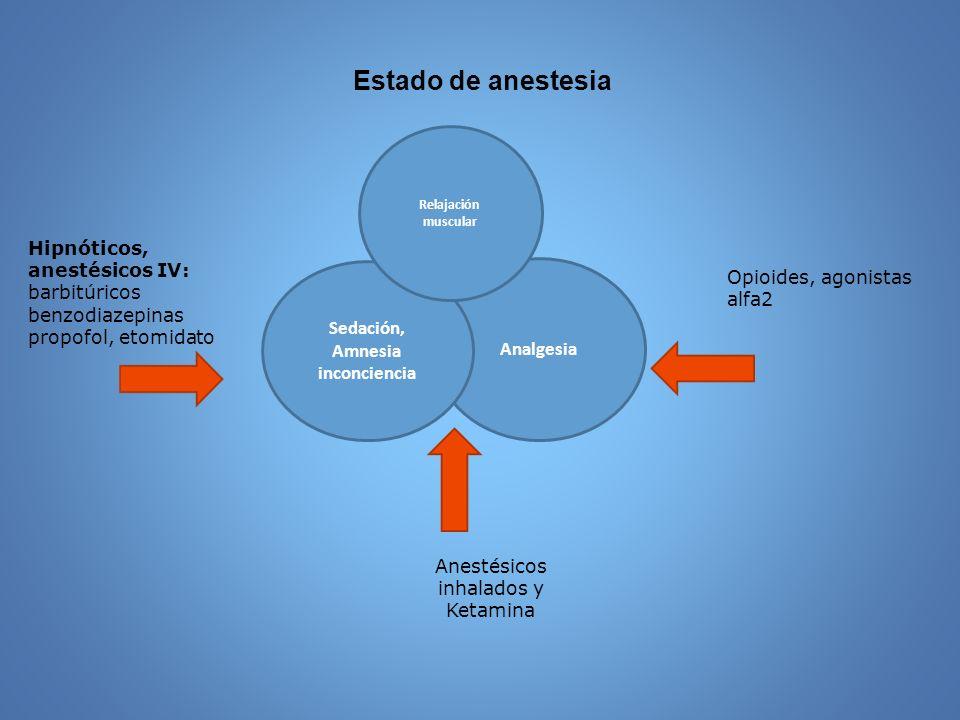 Estado de anestesia Analgesia Sedación, Amnesia inconciencia Hipnóticos, anestésicos IV: barbitúricos benzodiazepinas propofol, etomidato Opioides, ag