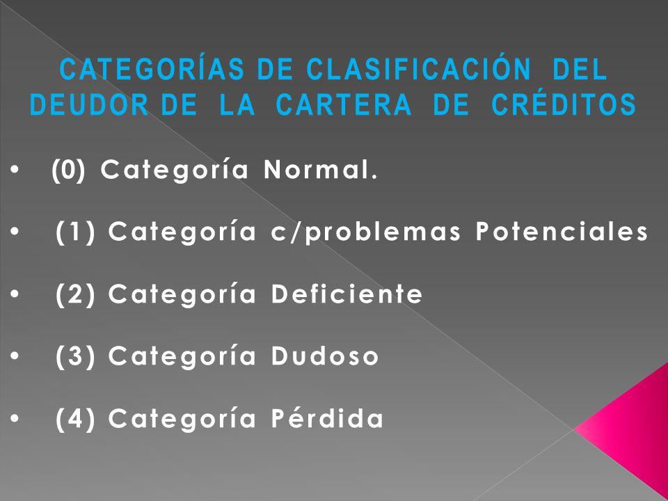 CATEGORÍAS DE CLASIFICACIÓN DEL DEUDOR DE LA CARTERA DE CRÉDITOS (0) Categoría Normal. (1) Categoría c/problemas Potenciales (2) Categoría Deficiente