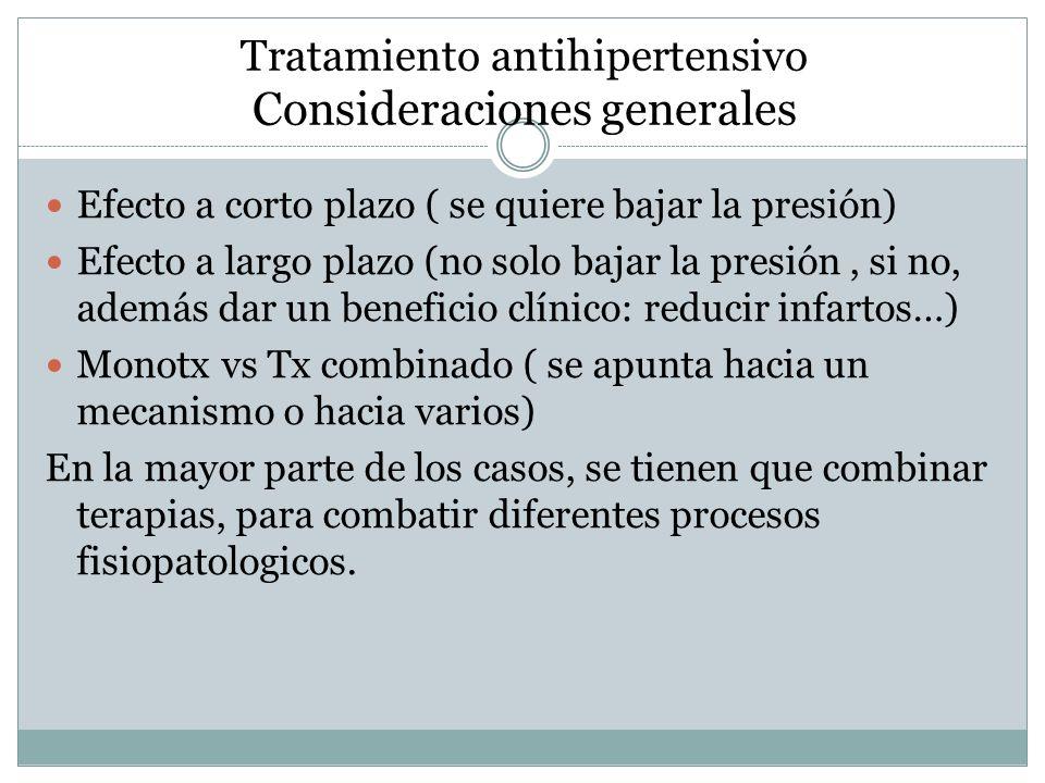 Tratamiento antihipertensivo Consideraciones generales Efecto a corto plazo ( se quiere bajar la presión) Efecto a largo plazo (no solo bajar la presi