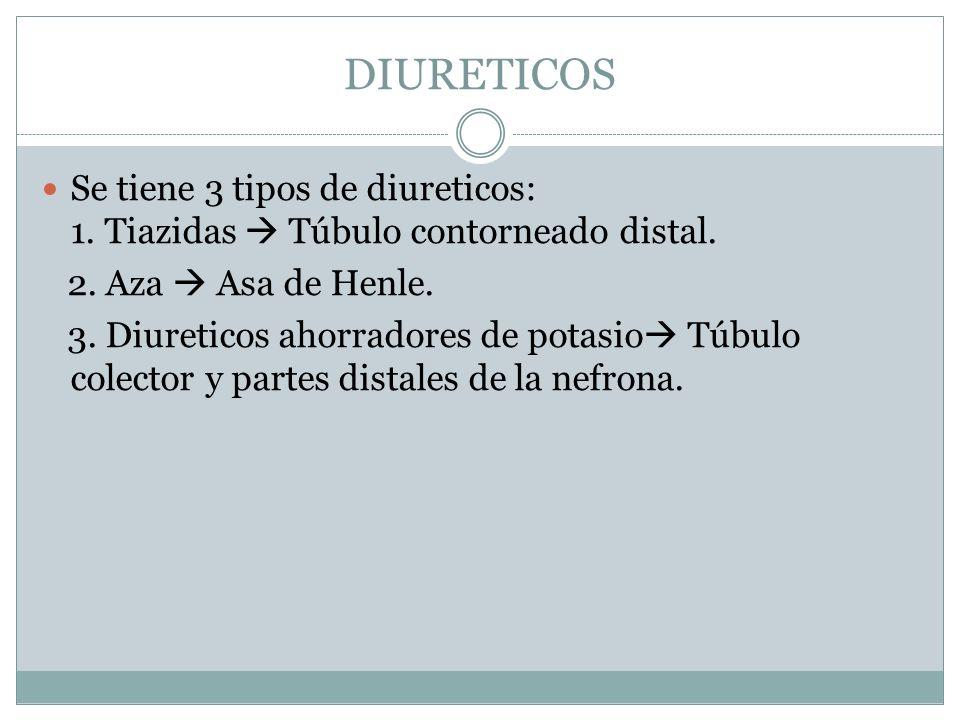 DIURETICOS Se tiene 3 tipos de diureticos: 1. Tiazidas Túbulo contorneado distal. 2. Aza Asa de Henle. 3. Diureticos ahorradores de potasio Túbulo col