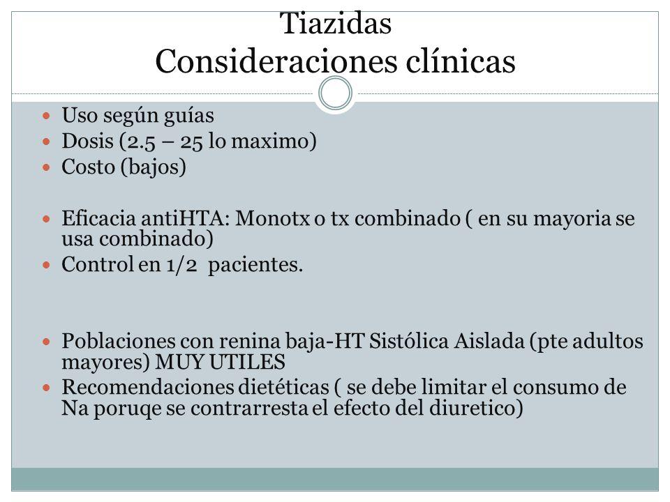 Tiazidas Consideraciones clínicas Uso según guías Dosis (2.5 – 25 lo maximo) Costo (bajos) Eficacia antiHTA: Monotx o tx combinado ( en su mayoria se
