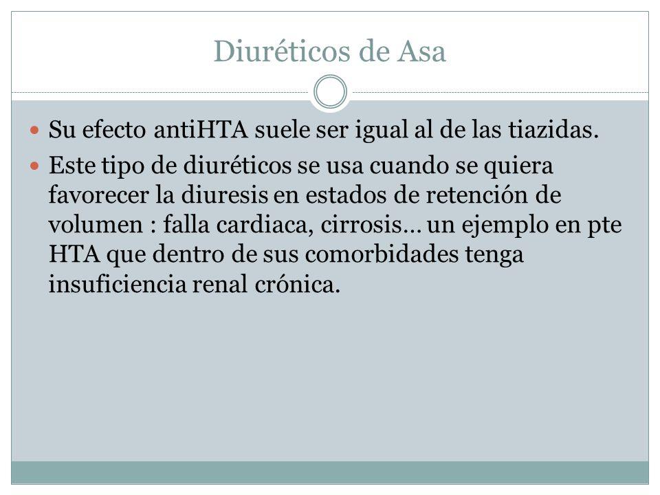 Diuréticos de Asa Su efecto antiHTA suele ser igual al de las tiazidas. Este tipo de diuréticos se usa cuando se quiera favorecer la diuresis en estad