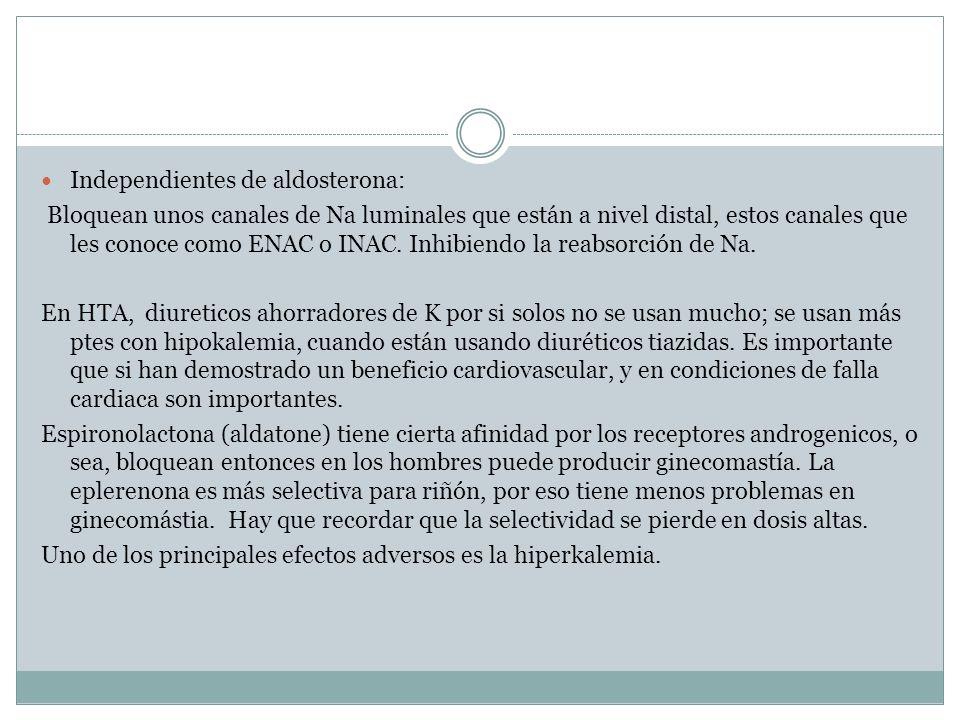 Independientes de aldosterona: Bloquean unos canales de Na luminales que están a nivel distal, estos canales que les conoce como ENAC o INAC. Inhibien