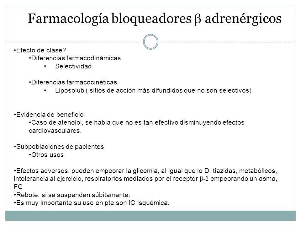 Farmacología bloqueadores adrenérgicos Efecto de clase? Diferencias farmacodinámicas Selectividad Diferencias farmacocinéticas Liposolub ( sitios de a