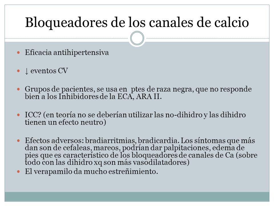 Bloqueadores de los canales de calcio Eficacia antihipertensiva eventos CV Grupos de pacientes, se usa en ptes de raza negra, que no responde bien a l