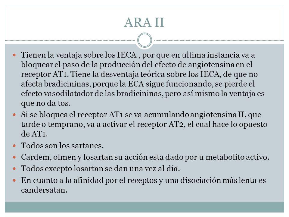 ARA II Tienen la ventaja sobre los IECA, por que en ultima instancia va a bloquear el paso de la producción del efecto de angiotensina en el receptor