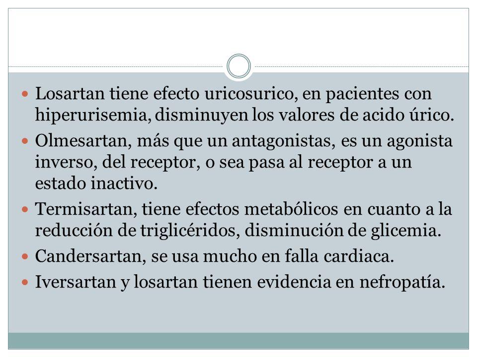 Losartan tiene efecto uricosurico, en pacientes con hiperurisemia, disminuyen los valores de acido úrico. Olmesartan, más que un antagonistas, es un a