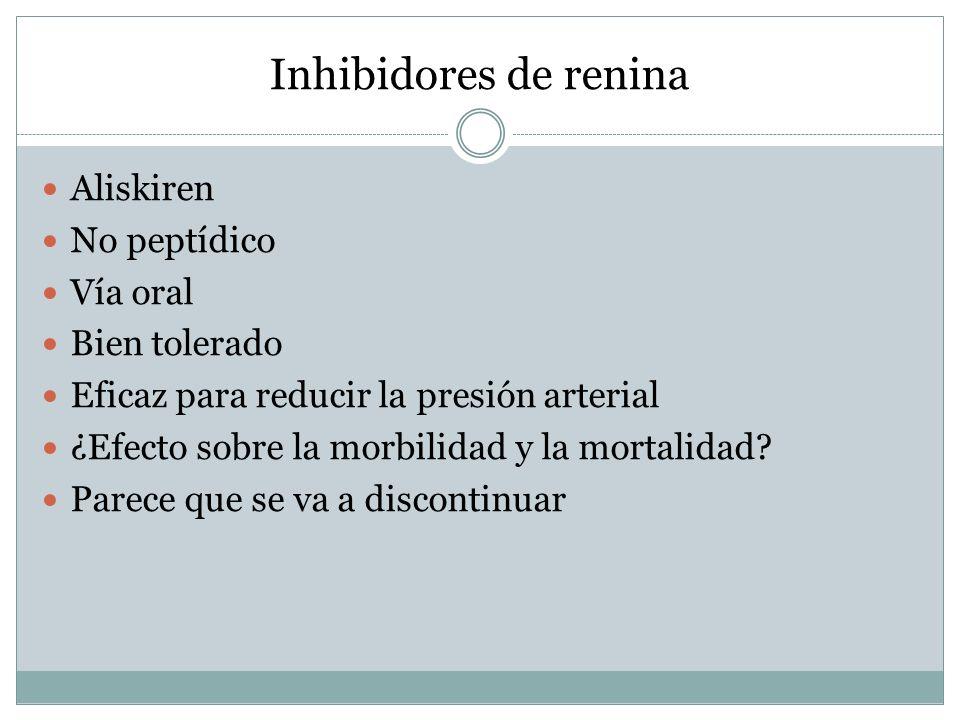 Inhibidores de renina Aliskiren No peptídico Vía oral Bien tolerado Eficaz para reducir la presión arterial ¿Efecto sobre la morbilidad y la mortalida
