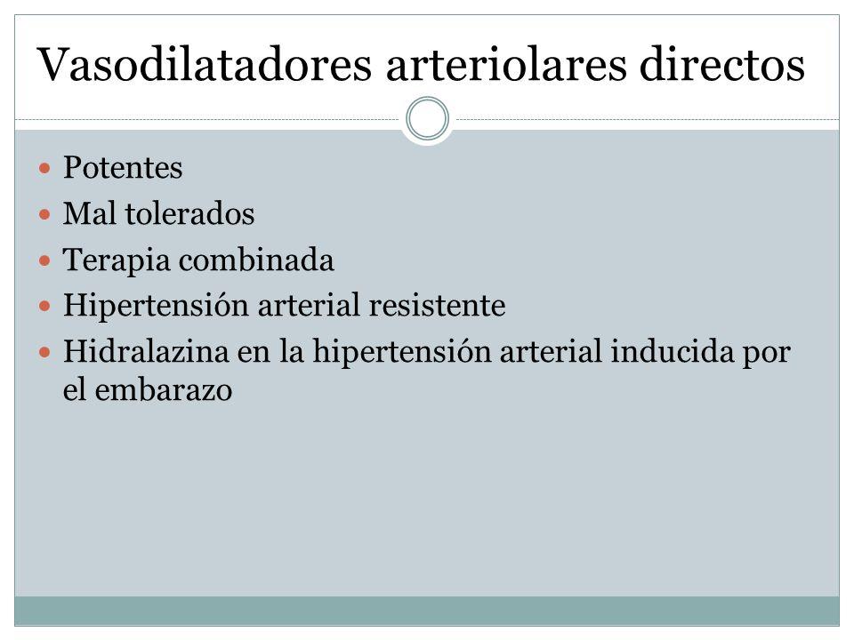 Vasodilatadores arteriolares directos Potentes Mal tolerados Terapia combinada Hipertensión arterial resistente Hidralazina en la hipertensión arteria