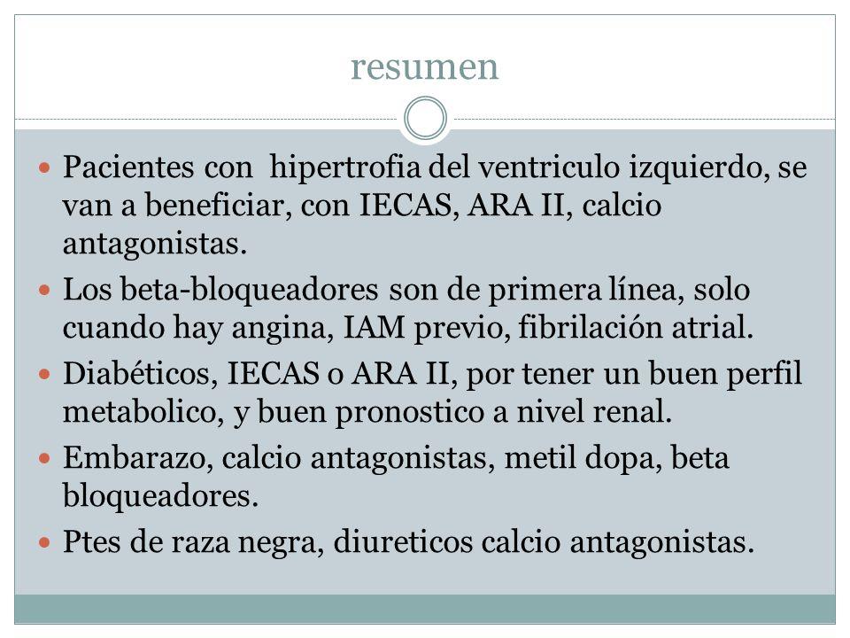 resumen Pacientes con hipertrofia del ventriculo izquierdo, se van a beneficiar, con IECAS, ARA II, calcio antagonistas. Los beta-bloqueadores son de
