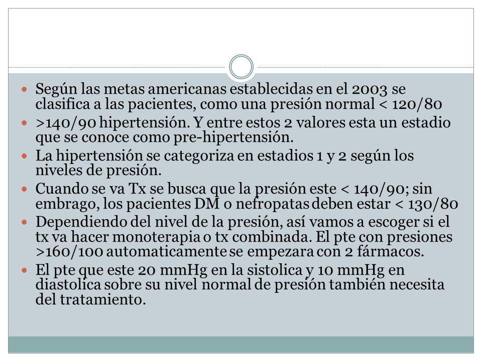 Según las metas americanas establecidas en el 2003 se clasifica a las pacientes, como una presión normal < 120/80 >140/90 hipertensión. Y entre estos