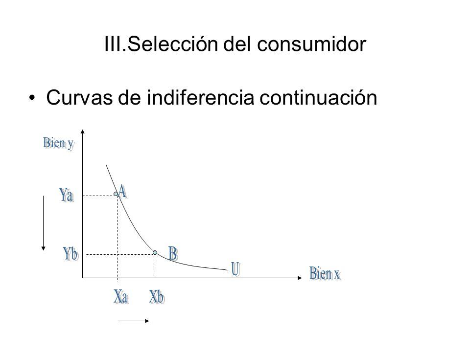 III.Selección del consumidor Curvas de indiferencia continuación