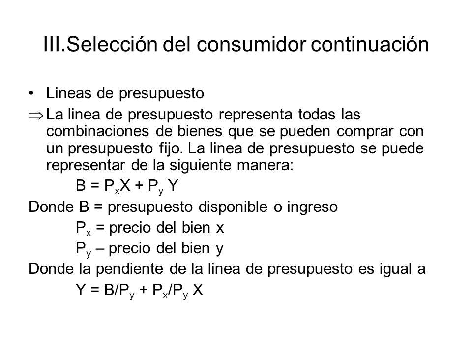 III.Selección del consumidor continuación Lineas de presupuesto La linea de presupuesto representa todas las combinaciones de bienes que se pueden com