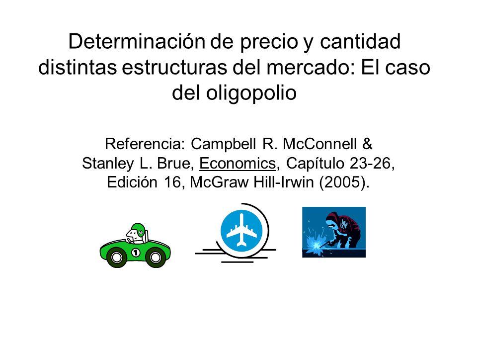 (A) Modelo de demanda quebrada continuación El modelo concluye que no le conviene a la empresa subir el precio, ya que sus competidores no lo harán, provocando una respuesta elástica de los consumidores.