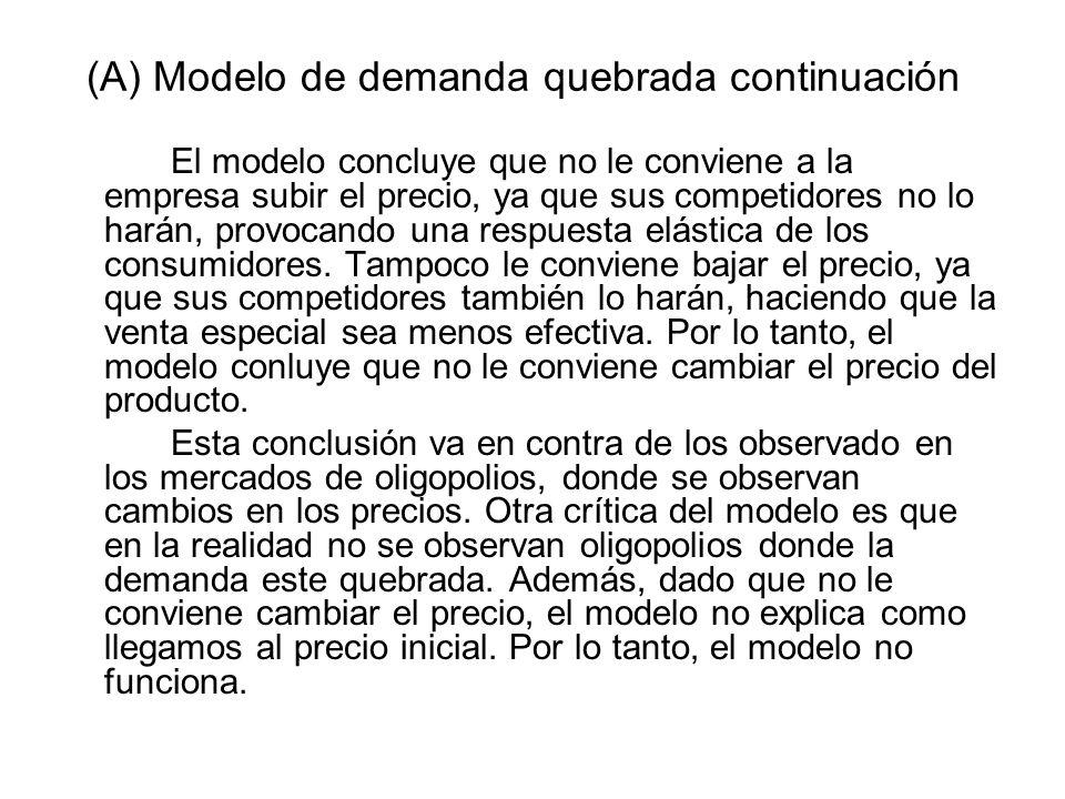 (A) Modelo de demanda quebrada continuación El modelo concluye que no le conviene a la empresa subir el precio, ya que sus competidores no lo harán, p
