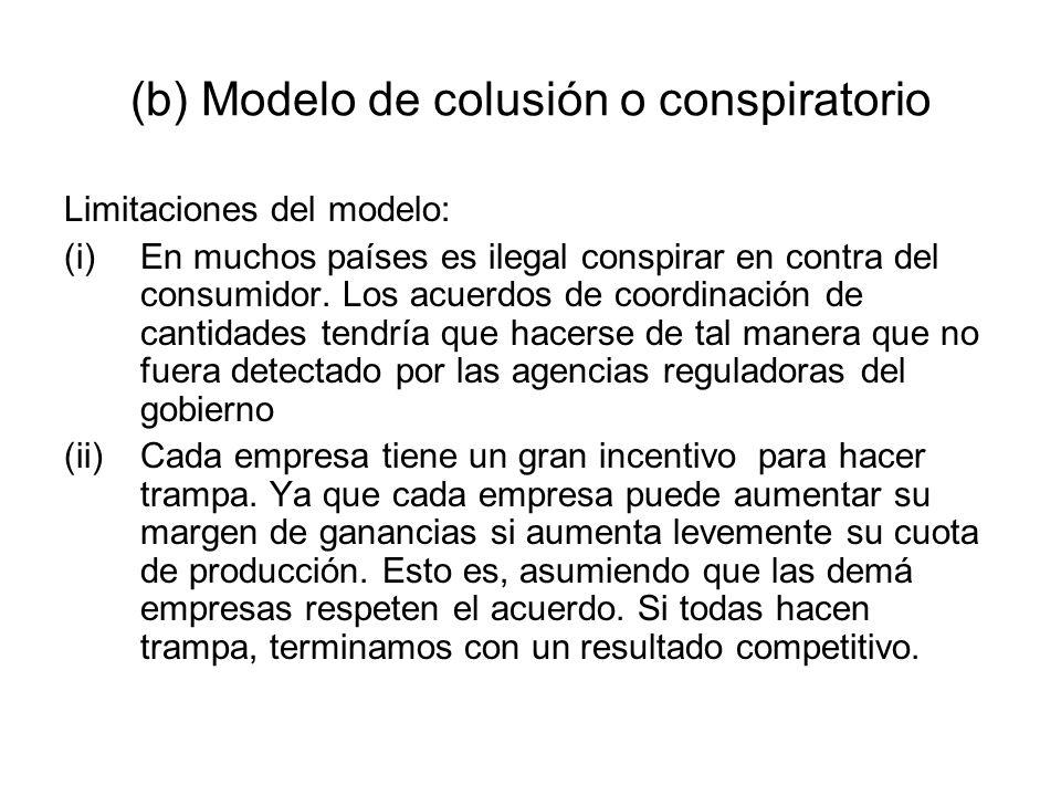 (b) Modelo de colusión o conspiratorio Limitaciones del modelo: (i)En muchos países es ilegal conspirar en contra del consumidor. Los acuerdos de coor
