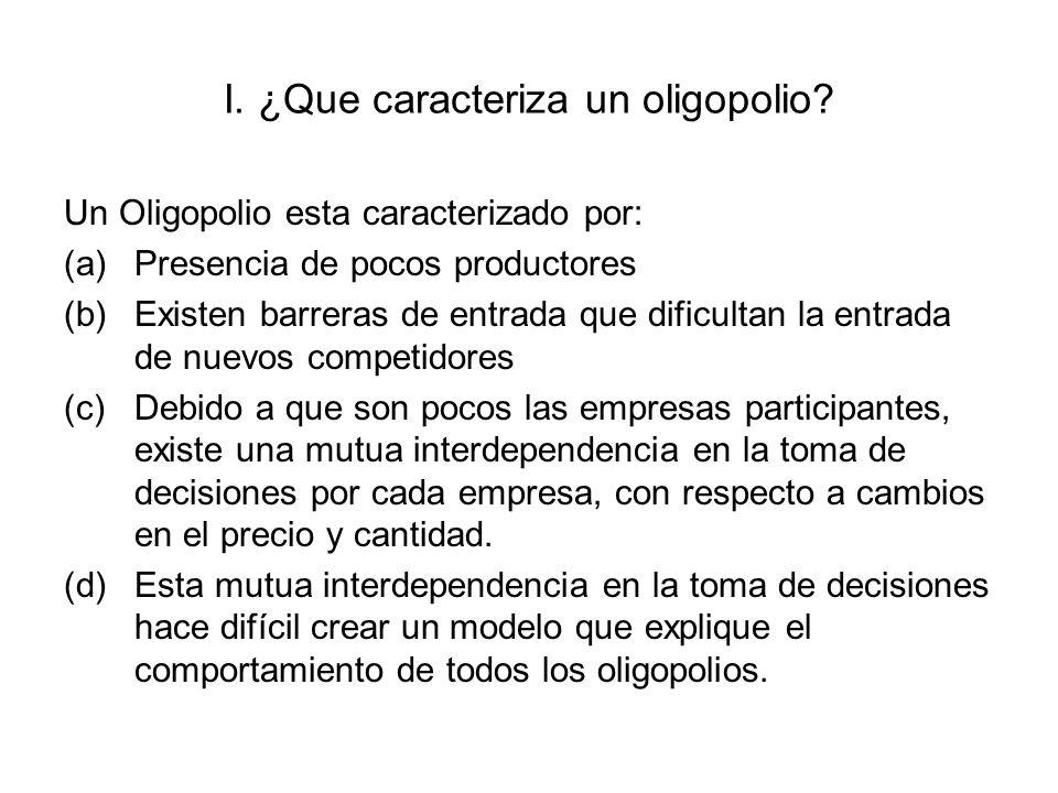 I. ¿Que caracteriza un oligopolio? Un Oligopolio esta caracterizado por: (a)Presencia de pocos productores (b)Existen barreras de entrada que dificult