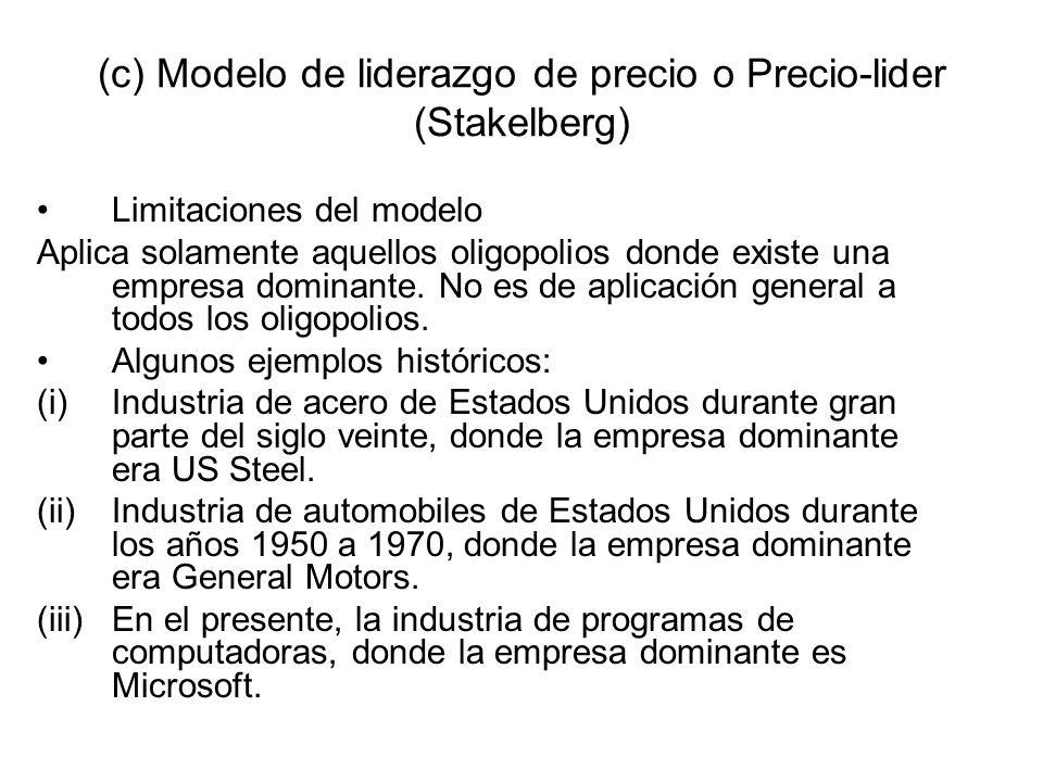 (c) Modelo de liderazgo de precio o Precio-lider (Stakelberg) Limitaciones del modelo Aplica solamente aquellos oligopolios donde existe una empresa d