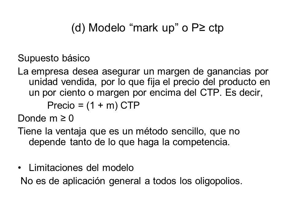 (d) Modelo mark up o P ctp Supuesto básico La empresa desea asegurar un margen de ganancias por unidad vendida, por lo que fija el precio del producto