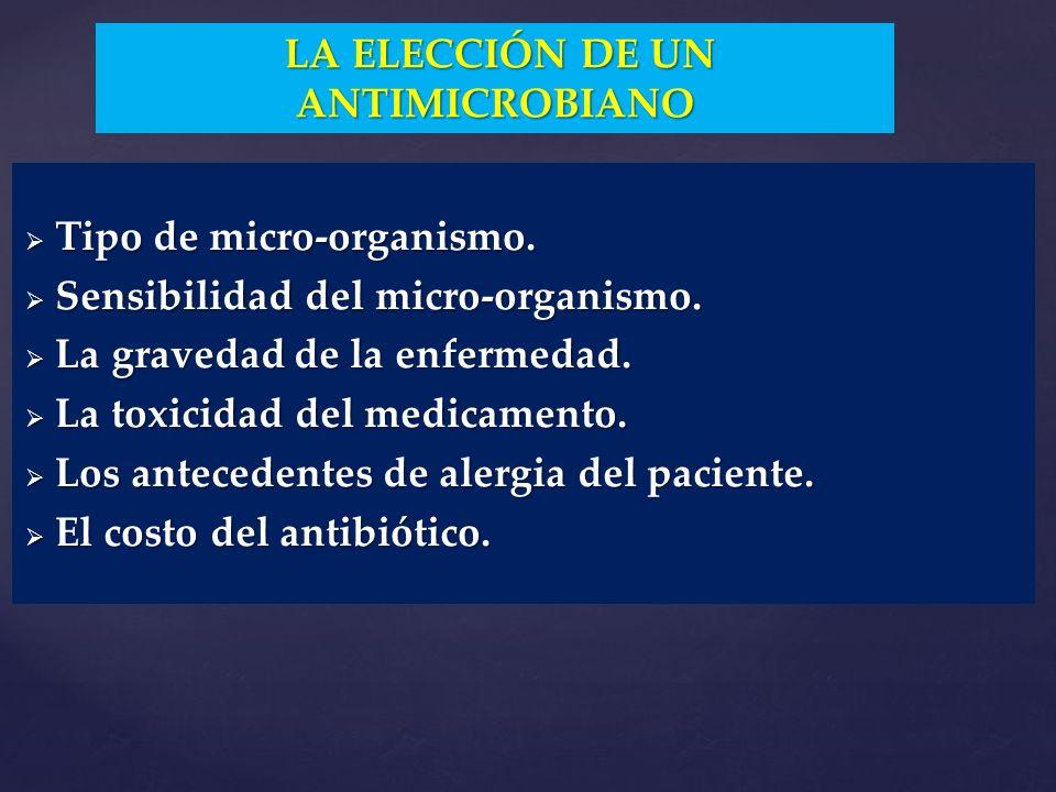 Tipo de micro-organismo. Tipo de micro-organismo. Sensibilidad del micro-organismo. Sensibilidad del micro-organismo. La gravedad de la enfermedad. La
