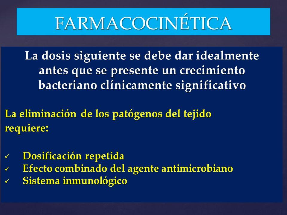 La dosis siguiente se debe dar idealmente antes que se presente un crecimiento bacteriano clínicamente significativo La eliminación de los patógenos d
