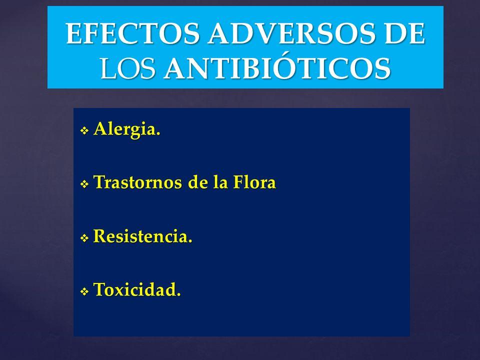 Alergia. Alergia. Trastornos de la Flora Trastornos de la Flora Resistencia. Resistencia. Toxicidad. Toxicidad. EFECTOS ADVERSOS DE LOS ANTIBIÓTICOS